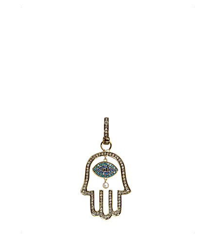 ANNOUSHKA Mythology 18ct yellow-gold, diamond and pearl Hand of Fatima amulet pendant