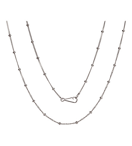 ANNOUSHKA Classic Saturn 18ct white-gold long chain necklace