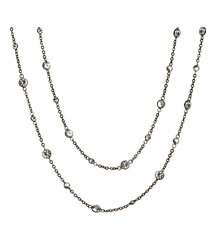 ANNOUSHKA 18ct white gold and white sapphire Nectar Night Jasmine long necklace