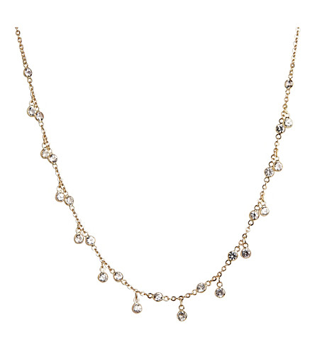 ANNOUSHKA 18ct white gold and white sapphire Nectar Jasmine Droplet necklace