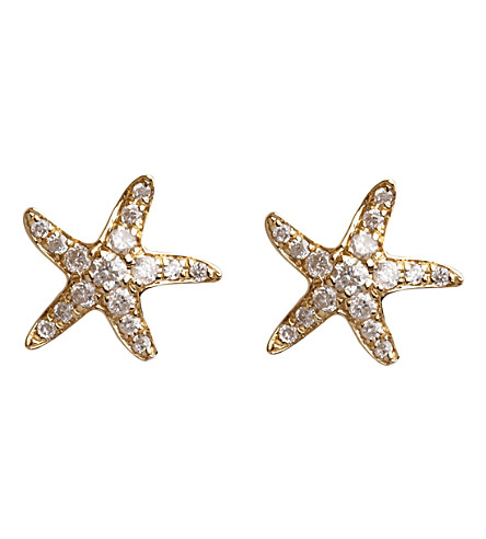 ANNOUSHKA 18ct yellow gold and diamond Love Diamonds Starfish stud earrings