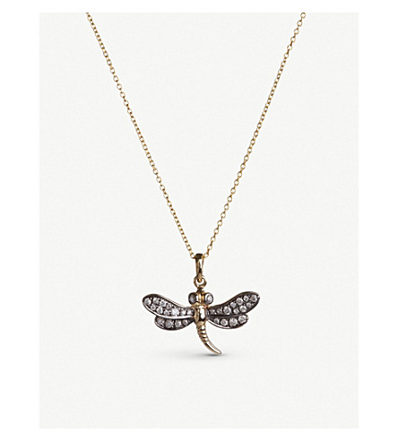 ANNOUSHKA Love diamonds 18ct yellow-gold dragonfly pendant necklace
