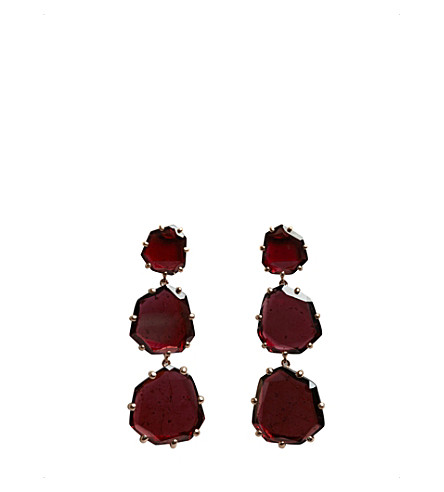 ANNOUSHKA Shard 18ct rose-gold and rhodolite garnet triple-drop earrings