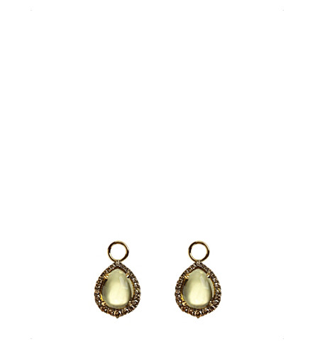 ANNOUSHKA 18ct yellow-gold, olive quartz and diamond earring drops