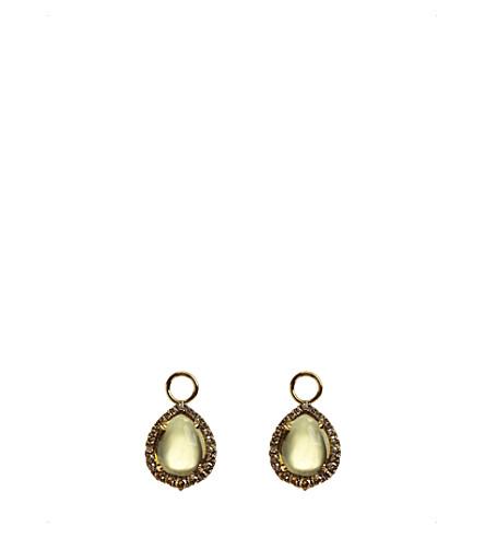 ANNOUSHKA 18ct yellow-gold, olive quartz and diamond earring drops