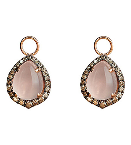 ANNOUSHKA 18ct rose-gold, rose quartz and diamond earring drops