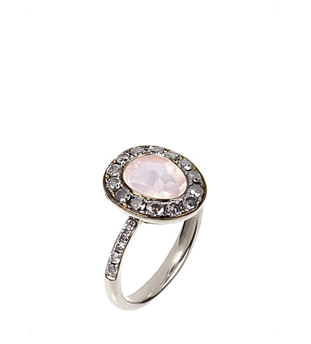 ANNOUSHKA Dusty Diamonds 18ct white-gold, rose quartz and grey diamond ring