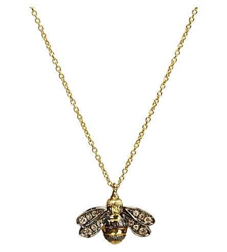 ANNOUSHKA Love diamonds 18ct yellow-gold bee pendant necklace