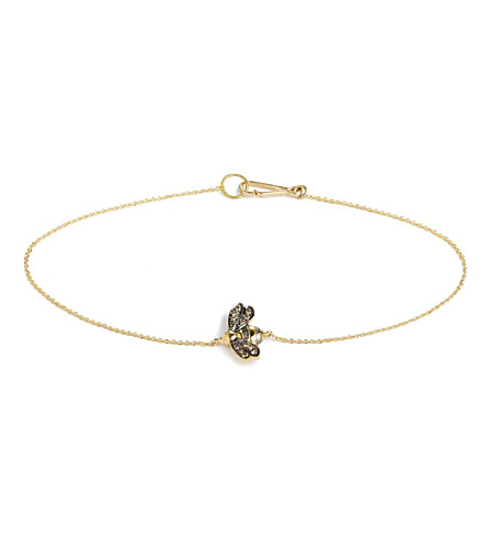 ANNOUSHKA Love diamonds 18ct yellow-gold bee bracelet