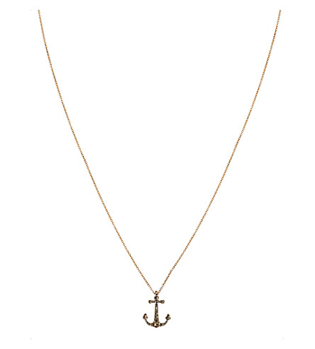 ANNOUSHKA Love Diamonds 18ct rose-gold anchor pendant necklace