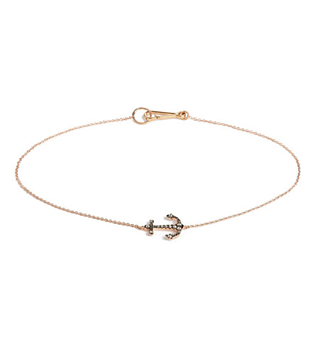 ANNOUSHKA Love Diamonds 18ct rose-gold anchor bracelet