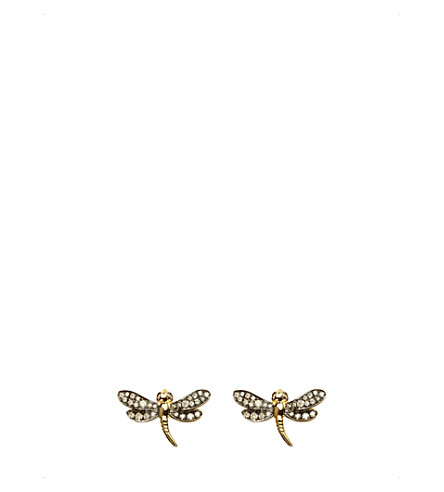 ANNOUSHKA Love diamonds 18ct yellow-gold dragonfly earrings