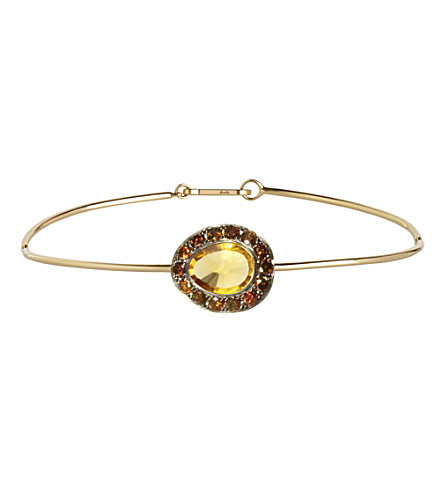 ANNOUSHKA Dusty Diamonds 18ct yellow-gold, diamond and citrine bangle bracelet