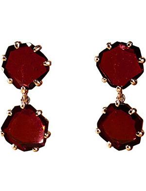 ANNOUSHKA 18ct rose gold and rhodolite garnet Shard drop earrings