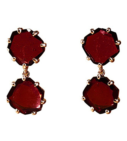 ANNOUSHKA Shard 18ct rose-gold and rhodolite garnet drop earrings