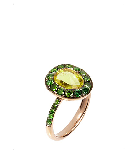 ANNOUSHKA Dusty Diamonds 18ct rose-gold, olive quartz and green diamond ring