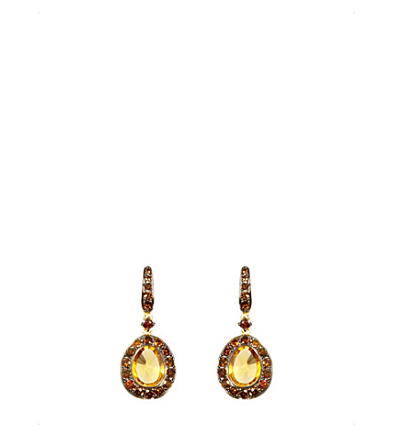 ANNOUSHKA Dusty Diamonds Citrine and 18ct yellow-gold drop earrings