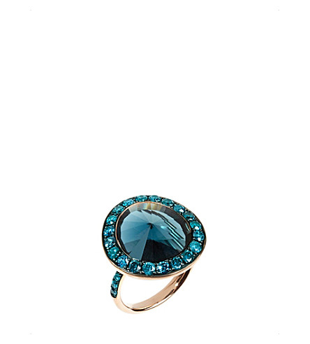 ANNOUSHKA Dusty diamonds 18ct rose-gold topaz and diamond ring