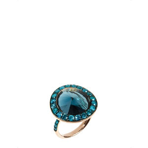 Dusty diamonds 18ct rose-gold topaz and diamond ring