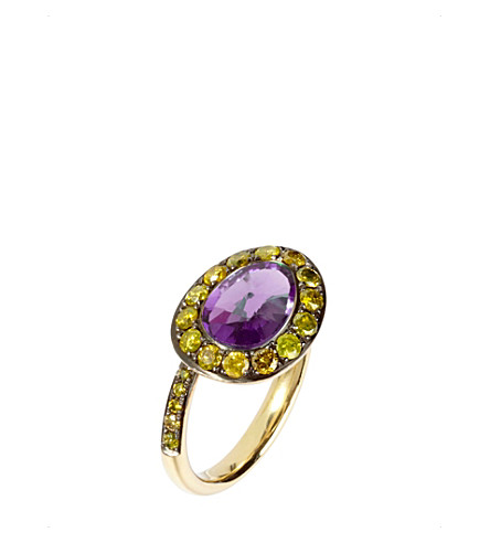 ANNOUSHKA Dusty Diamonds 18ct yellow-gold amethyst and diamond side ring