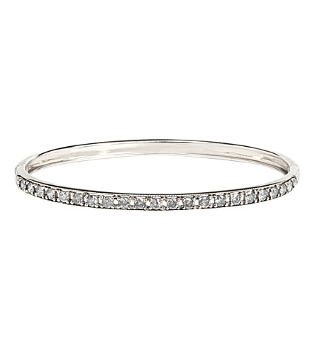 ANNOUSHKA Dusty Diamonds 18ct white-gold and diamond line bangle