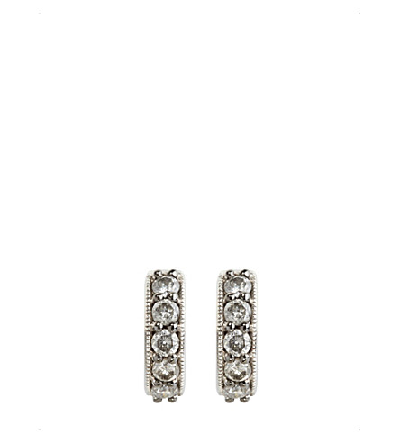 ANNOUSHKA Dusty diamonds 18ct white-gold and diamond hoop earrings