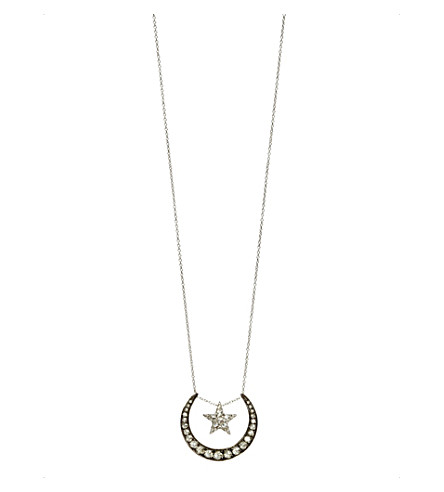 ANNOUSHKA Love diamonds 18ct white-gold and diamond lunar pendant necklace