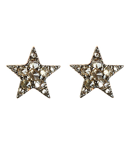 ANNOUSHKA Love Diamonds 18ct rose-gold and diamond star earrings