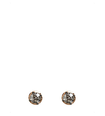 ANNOUSHKA Dusty 18ct rose-gold and diamond stud earrings