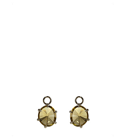 ANNOUSHKA 18ct white-gold and olive quartz earring drops