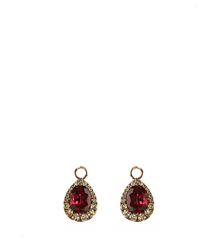 ANNOUSHKA 18ct rose-gold, garnet and diamond earring drops