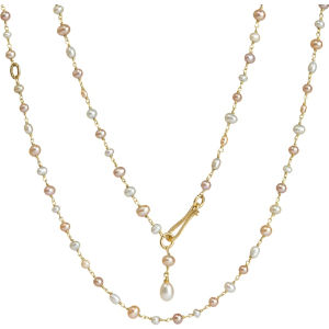 Seed pearl and 18ct yellow-gold chain necklace
