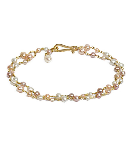 ANNOUSHKA种子珍珠18ct 黄色金子和珍珠手镯