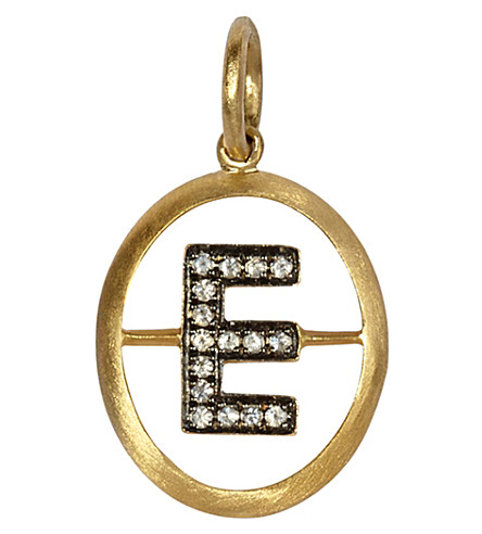 ANNOUSHKA 18ct yellow-gold and diamond E pendant