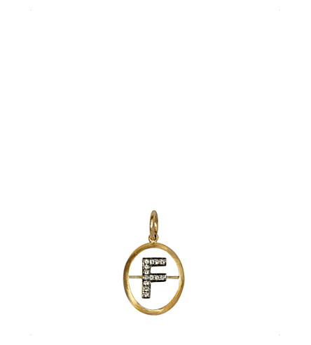 ANNOUSHKA 18ct yellow-gold and diamond F pendant