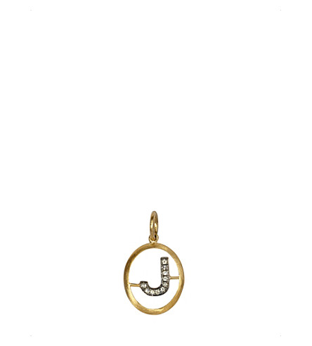 ANNOUSHKA 18ct yellow-gold and diamond J pendant
