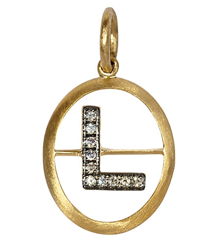 ANNOUSHKA 18ct yellow-gold and diamond K pendant