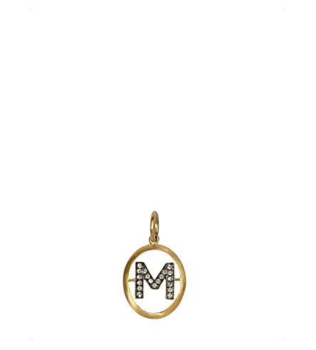 ANNOUSHKA 18ct yellow-gold and diamond M pendant