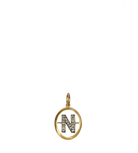 ANNOUSHKA 18ct yellow-gold and diamond N pendant