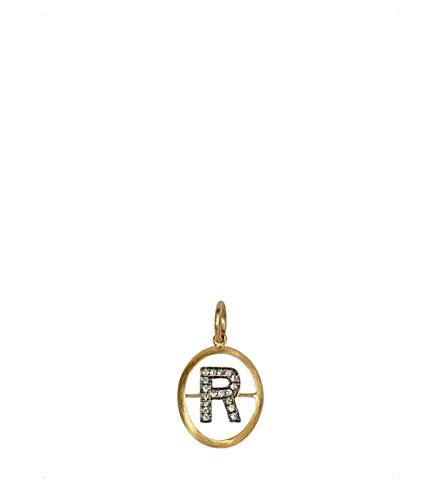 ANNOUSHKA 18ct yellow-gold and diamond R pendant