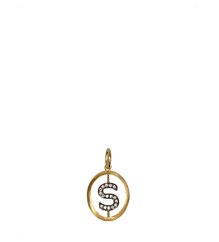 ANNOUSHKA 18ct yellow-gold and diamond S pendant