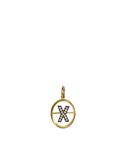 ANNOUSHKA 18ct yellow-gold and diamond X pendant