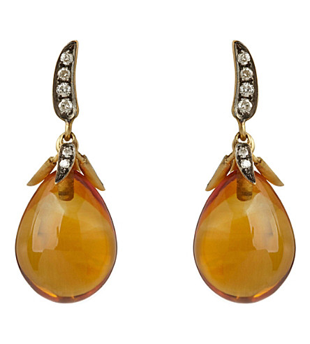 ANNOUSHKA 辣椒日落水晶, 18cy 黄金色和钻石耳环
