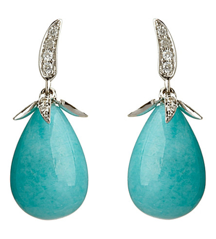 ANNOUSHKA Chilli white heat 18ct white-gold, amazonite and diamond earrings