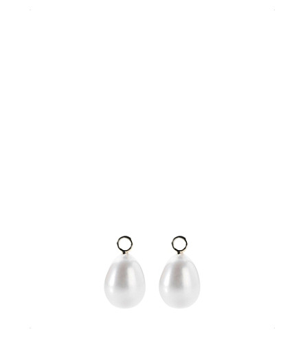 ANNOUSHKA Classic baroque 18ct white-gold and pearl earring drops