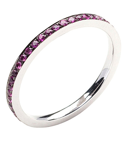 ANNOUSHKA 18ct white gold and ruby bangle