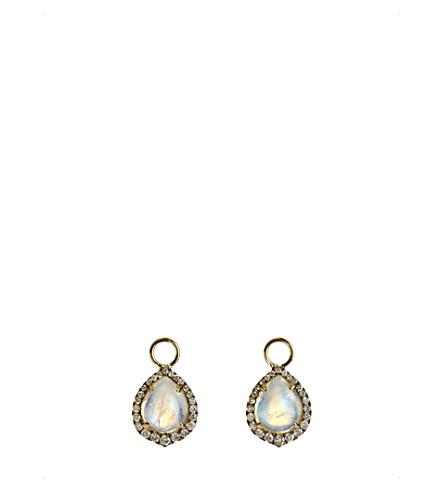 ANNOUSHKA月光石, 18ct 黄金色和钻石耳环滴