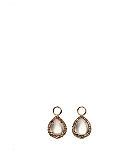 ANNOUSHKA 18ct rose-gold, 5.58ct rose-quartz and diamond earring drops