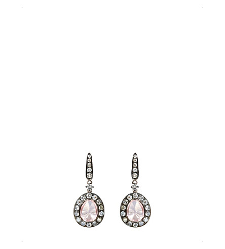 ANNOUSHKA Dusty 18ct white gold, rose quartz and diamond earrings