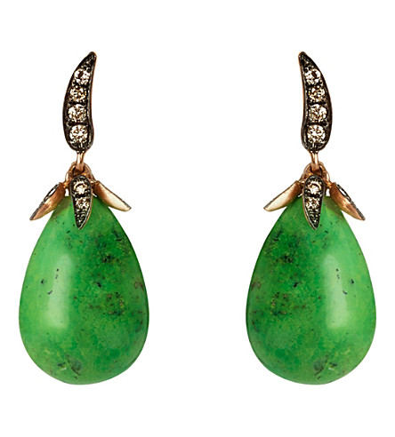 ANNOUSHKA Chilli Evergreen 18ct gold, turquoise and diamond earrings
